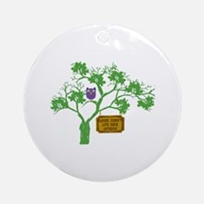 Cancer Doesn't Live Tree Owl Ornament (Round)