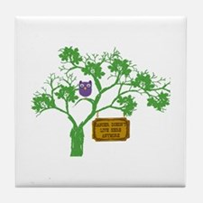 Cancer Doesn't Live Tree Owl Tile Coaster