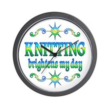 Knitting Brightens Wall Clock