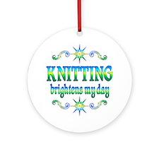 Knitting Brightens Ornament (Round)