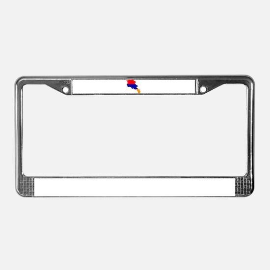 Armenia Flag and Map License Plate Frame