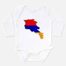 Armenia Flag and Map Long Sleeve Infant Bodysuit