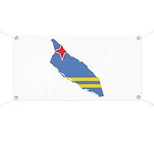 Aruba Flag and Map Banner