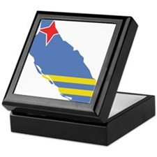 Aruba Flag and Map Keepsake Box
