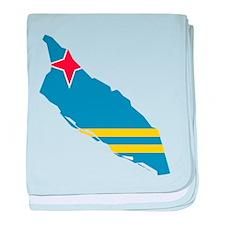 Aruba Flag and Map baby blanket