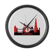 London landmarks tee 3cp.png Large Wall Clock