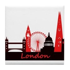 London landmarks tee 3cp.png Tile Coaster