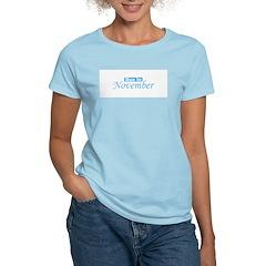 Due In November - Blue Women's Pink T-Shirt