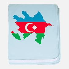 Azerbaijan Flag and Map baby blanket