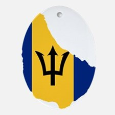 Barbados Flag and Map Ornament (Oval)