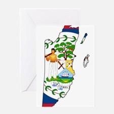 Belize Flag and Map Greeting Card