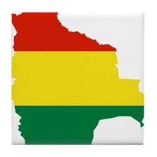 Bolivia Flag and Map Tile Coaster