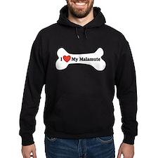 I Love My Malamute - Dog Bone Hoodie