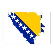 Bosnia and Herzegovina Flag and Map Postcards (Pac