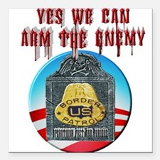 """Arm The Enemy Square Car Magnet 3"""" x 3"""""""