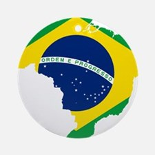 Brazil Flag and Map Ornament (Round)