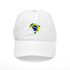 Brazil Flag and Map Baseball Cap