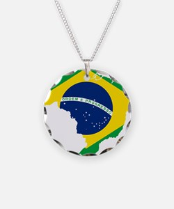 Brazil Flag and Map Necklace