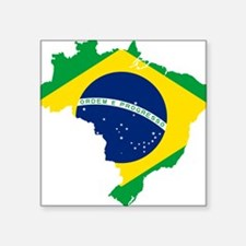 "Brazil Flag and Map Square Sticker 3"" x 3"""