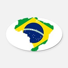 Brazil Flag and Map Oval Car Magnet