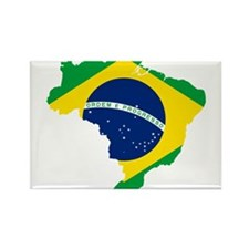 Brazil Flag and Map Rectangle Magnet