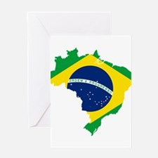 Brazil Flag and Map Greeting Card