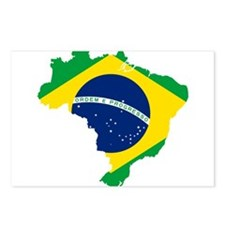 Brazil Flag and Map Postcards (Package of 8)
