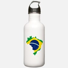 Brazil Flag and Map Water Bottle