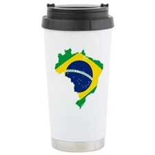Brazil Flag and Map Travel Mug