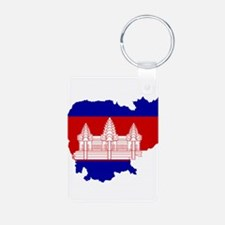 Cambodia Flag and Map Keychains