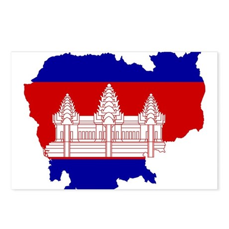 Cambodia Flag and Map Postcards (Package of 8)