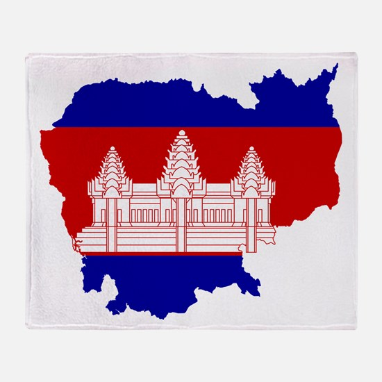 Cambodia Flag and Map Throw Blanket