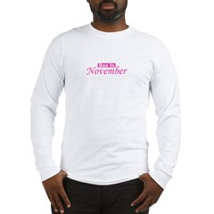 Due In November - Pink Long Sleeve T-Shirt