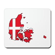 Flag Map of Denmark Mousepad