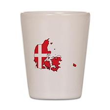 Flag Map of Denmark Shot Glass