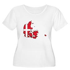 Flag Map of Denmark T-Shirt