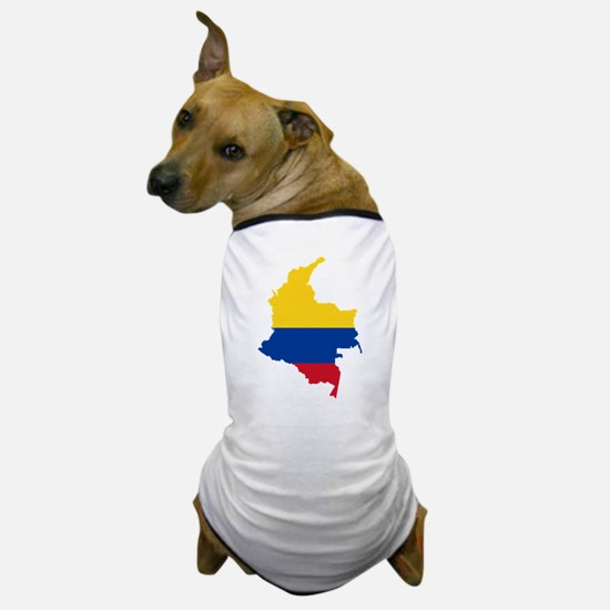 Colombia Civil Ensign Flag and Map Dog T-Shirt