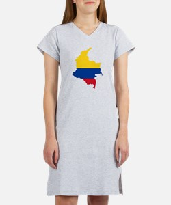 Colombia Civil Ensign Flag and Map Women's Nightsh