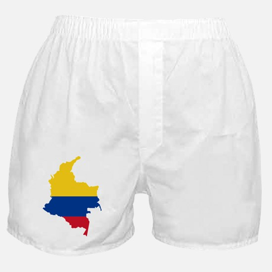 Colombia Civil Ensign Flag and Map Boxer Shorts