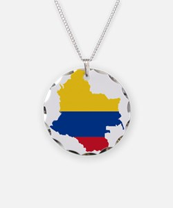 Colombia Civil Ensign Flag and Map Necklace