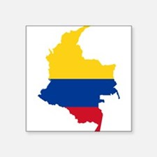 Colombia Civil Ensign Flag and Map Square Sticker