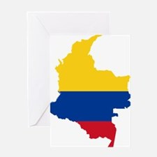 Colombia Civil Ensign Flag and Map Greeting Card