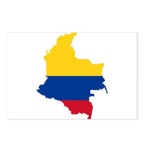 Colombia Civil Ensign Flag and Map Postcards (Pack