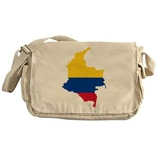 Colombia Civil Ensign Flag and Map Messenger Bag