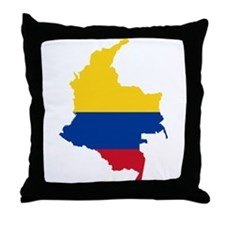 Colombia Civil Ensign Flag and Map Throw Pillow