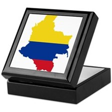 Colombia Civil Ensign Flag and Map Keepsake Box