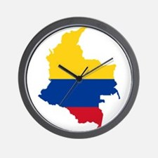 Colombia Civil Ensign Flag and Map Wall Clock