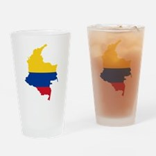 Colombia Civil Ensign Flag and Map Drinking Glass
