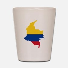 Colombia Civil Ensign Flag and Map Shot Glass