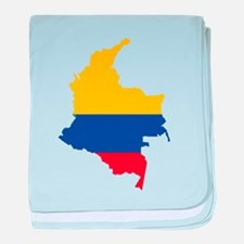 Colombia Civil Ensign Flag and Map baby blanket